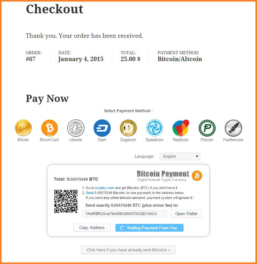 bitcoin woocommerce checkout compra
