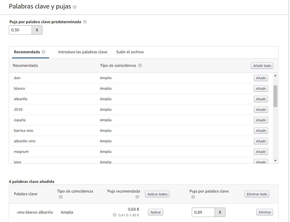 amazon productos patrocinados palabras clave
